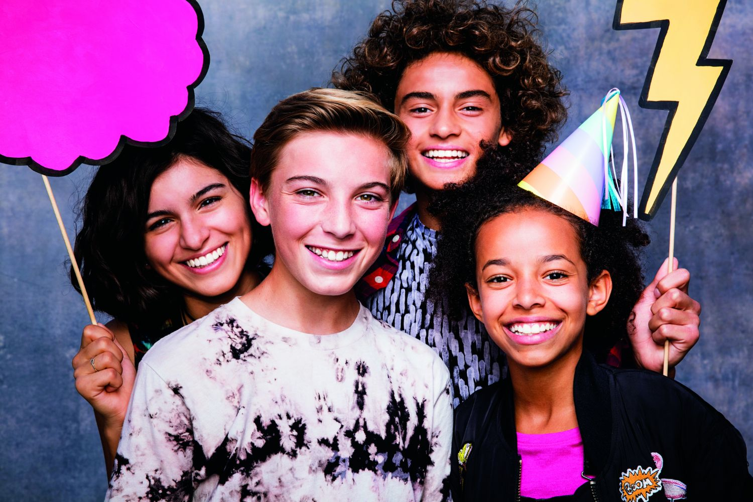 Teens with Invisalign at a photo booth